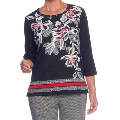 Alfred Dunner Talk Of The Town 3/4 Sleeve Crew Neck Floral T-Shirt-Womens