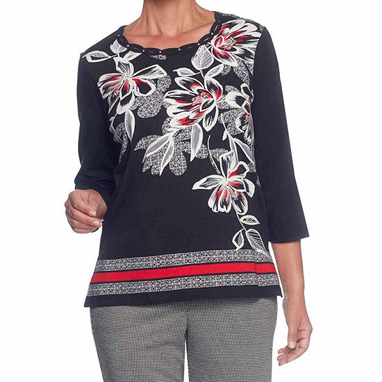 Alfred Dunner Talk Of The Town-Womens Crew Neck 3/4 Sleeve T-Shirt