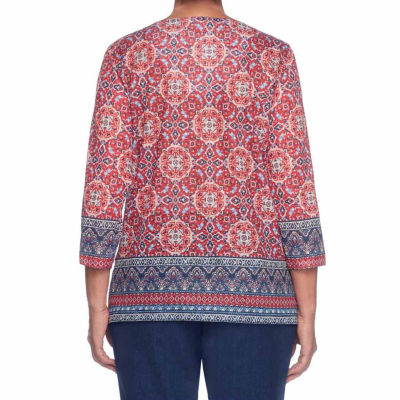 Alfred Dunner Gypsy Moon 3/4 Sleeve V Neck Medallion T-Shirt-Womens