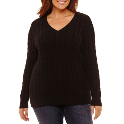 St. John's Bay Long Sleeve V Neck Pullover Sweater - Plus
