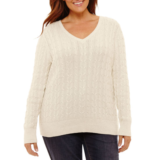 St. John's Bay Long Sleeve V Neck Pullover Sweater - Plus
