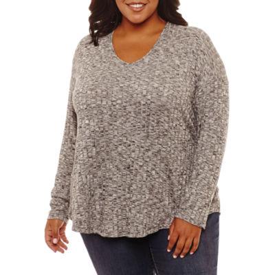 a.n.a Long Sleeve T-Shirt-Womens Plus