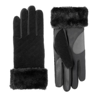 Isotoner Cold Weather Velvet Glove with Fur Cuff