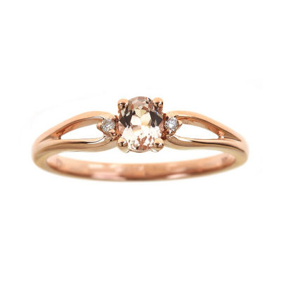 Womens Diamond Accent Genuine Pink Morganite 14K Rose Gold Cocktail Ring