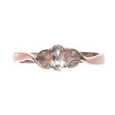 Womens Diamond Accent Genuine Pink Morganite Sterling Silver Cocktail Ring