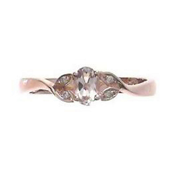 LIMITED QUANTITIES! Womens Diamond Accent Genuine Pink Morganite Sterling Silver Cocktail Ring