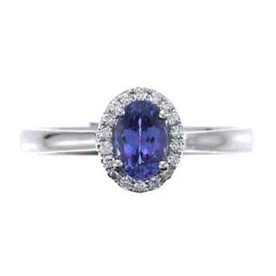 Womens 1/10 CT. T.W. Blue Tanzanite 10K Gold Halo Ring
