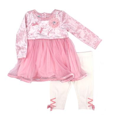 Nanette Baby 2-pc.Pink Necklace Print Fashion Legging Set-Baby Girls