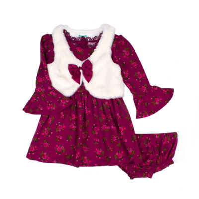 Nanette Baby Long Sleeve Floral With Vest Dress - Baby Girls
