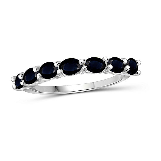 Womens Genuine Blue Sapphire Sterling Silver Delicate Cocktail Ring