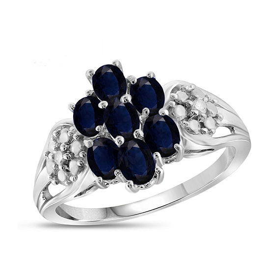 Womens Diamond Accent Genuine Blue Sapphire Sterling Silver Cluster Cocktail Ring