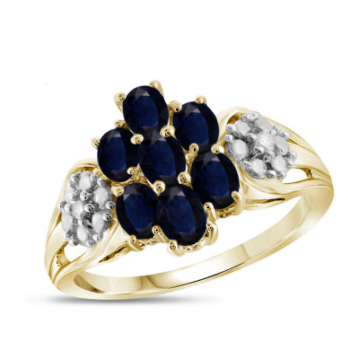 Womens Diamond Accent Blue Sapphire 14K Gold Over Silver Cluster Cocktail Ring