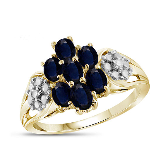 Womens Diamond Accent Genuine Blue Sapphire 14K Gold Over Silver Cluster Cocktail Ring