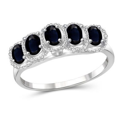 Womens Blue Sapphire Sterling Silver Side Stone Ring