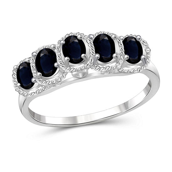 Womens Genuine Blue Sapphire Sterling Silver Side Stone Cocktail Ring