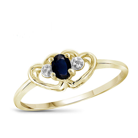 Womens Diamond Accent Genuine Blue Sapphire 14K Gold Over Silver Heart Delicate Cocktail Ring