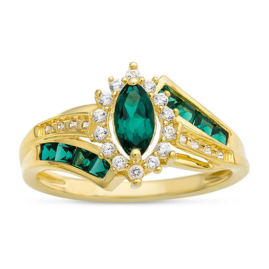 Womens Lab-Created Emerald 14K Gold Over Silver Cocktail Ring