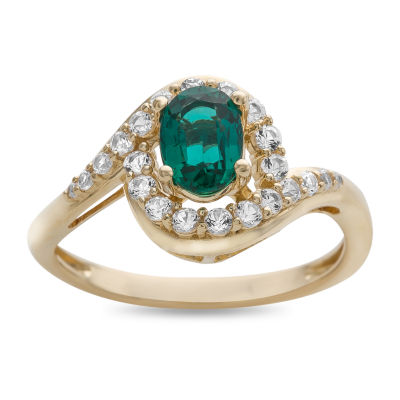 Womens Green Emerald Cocktail Ring