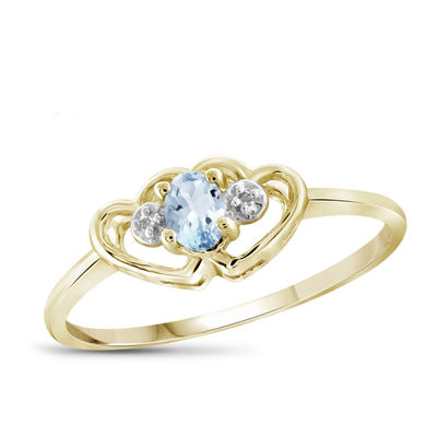 Womens Diamond Accent Blue Aquamarine 14K Gold Over Silver Heart Delicate Ring