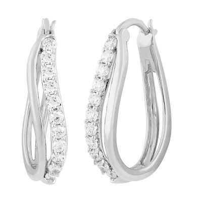 DiamonArt® White Cubic Zirconia Sterling Silver 24.4mm Hoop Earrings