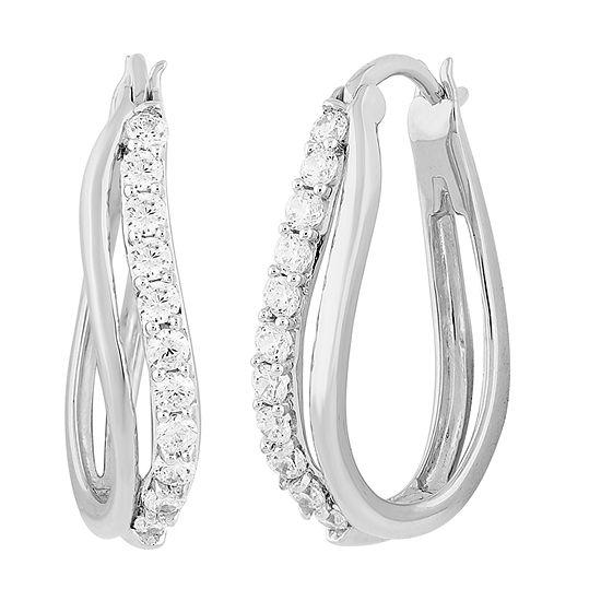 DiamonArt® White Cubic Zirconia Sterling Silver 24.4mm Hoop Earrings