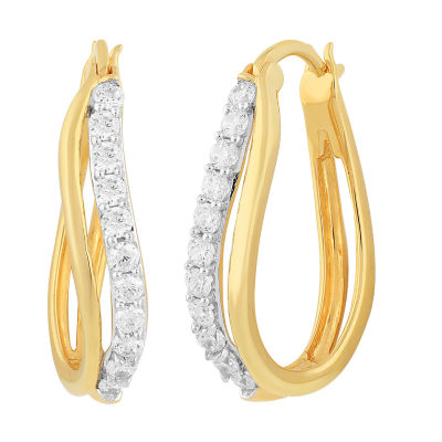 Diamonart White Cubic Zirconia 14K Gold Over Silver 24.4mm Hoop Earrings