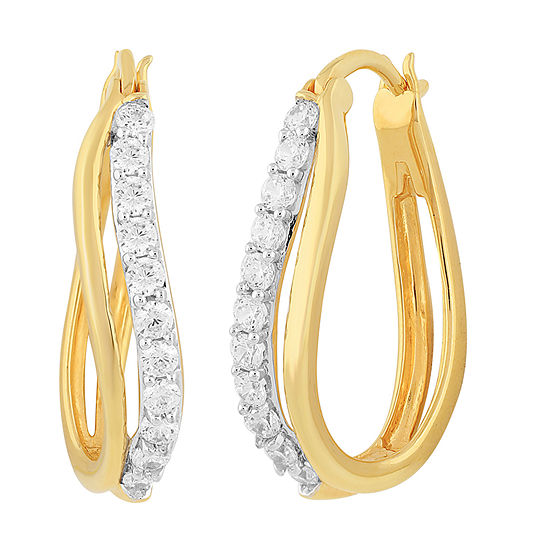 DiamonArt® White Cubic Zirconia 14K Gold Over Silver 24.4mm Hoop Earrings