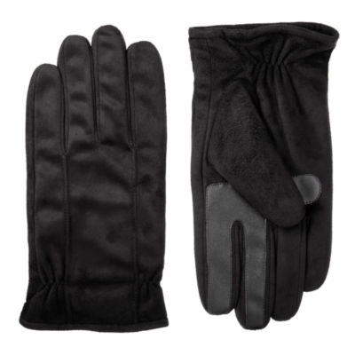 Isotoner Mens Faux Suede Cold Weather Gloves