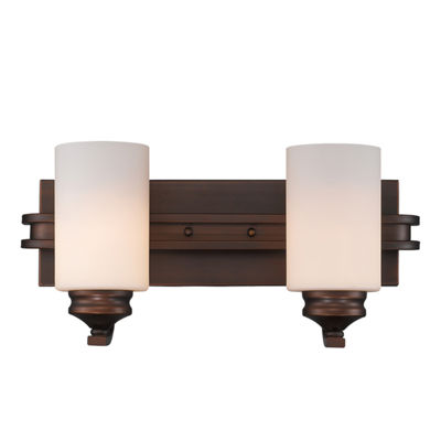 Hidalgo 2-Light Vanity in the Sovereign Bronze finish with Opal Glass