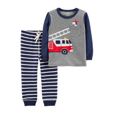 Carter's 2-pc. Firetruck Tee & Striped Jogger Set - Toddler Boy