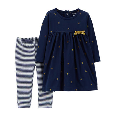 Carter's 2pc Dress and Stripe Legging Set - Baby Girls