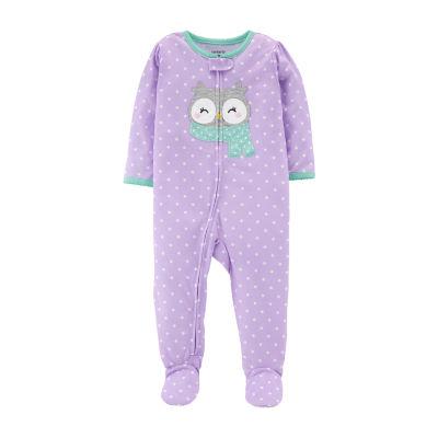 Carter's Carter'S One Piece Sleep - Baby Girl Girls Knit One Piece Pajama Long Sleeve Round Neck