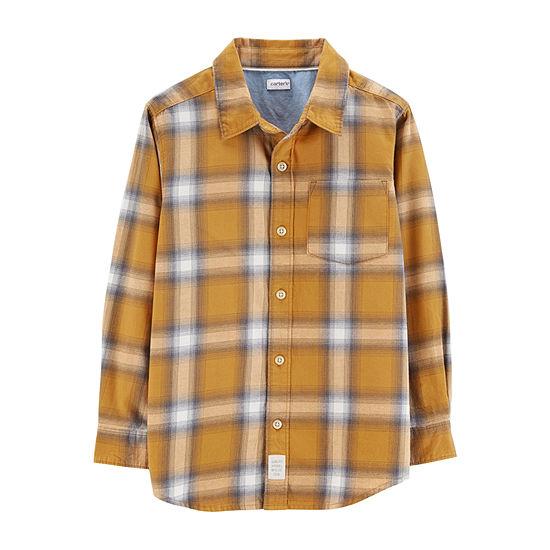 Carter's Half Zip Fleece Sherpa Collar Boys Long Sleeve Flannel Shirt Preschool / Big Kid