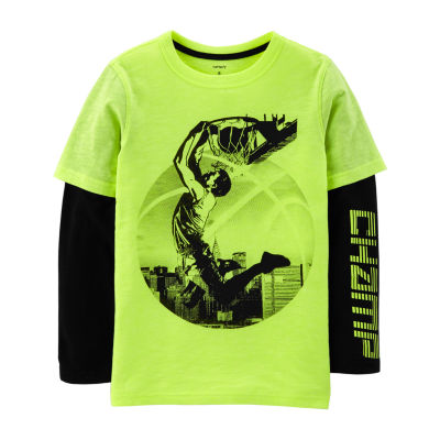 Carter's Ls Athletic Doubler Basketball Boys Round Neck Long Sleeve T-Shirt Preschool / Big Kid