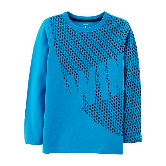 Carter's Ls Athletic Tee Win Boys Round Neck Long Sleeve T-Shirt Preschool / Big Kid