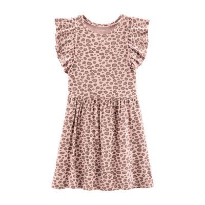 Carter's Pink Cheetah Print Dress - Preschool Girls Short Sleeve A-Line Dress Girls