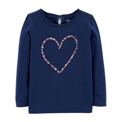 Carter's Navy Heart Top Graphic T-Shirt Girls