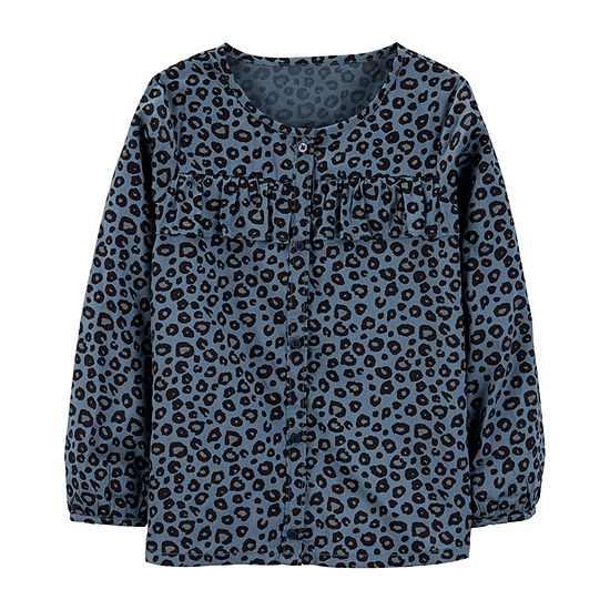 Carters Psg Blue Cheetah Print Top Girls Round Neck Long Sleeve Graphic T Shirt Preschool Big Kid