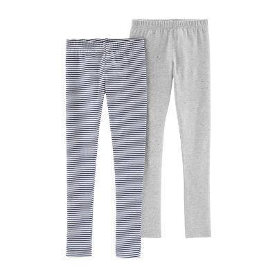 Carter's 2 pc Gray White Knit Leggings - Girls