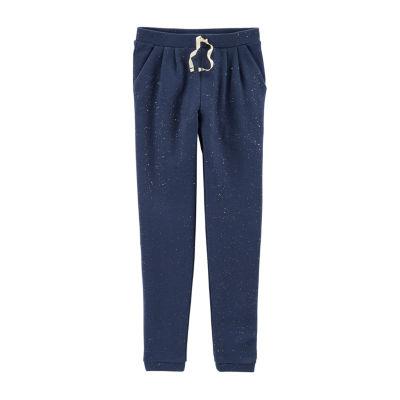 Carter's Navy Glitter Knit Jogger Pants - Girls