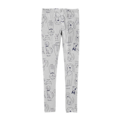 Carter's White Dog Knit Leggings - Girls