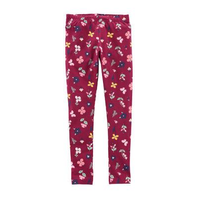 Carter's Maroon Floral Knit Leggings - Girls