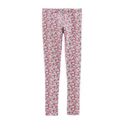 Carter's Pink Mint Floral Knit Leggings - Girls