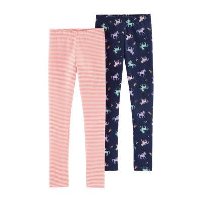 Carter's 2 pc Unicorn And Stripe Knit Leggings - Girls