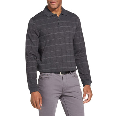 Van Heusen Flex Long-Sleeve Polo Shirt in Windowpane