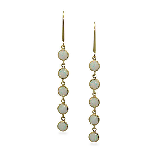 Lab Created White Opal 14k Gold Over Silver Drop Earrings