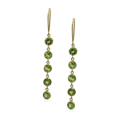 Green Peridot 14K Gold Over Silver Drop Earrings