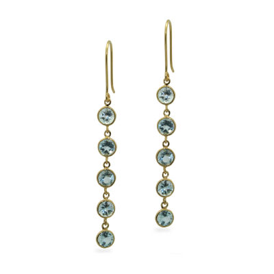 Genuine Blue Topaz 14K Gold Over Silver Round Drop Earrings