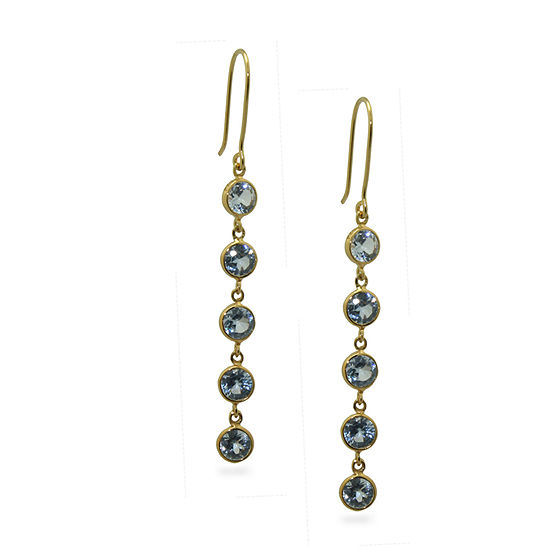 Simulated Blue Aquamarine 14K Gold Over Silver Round Drop Earrings