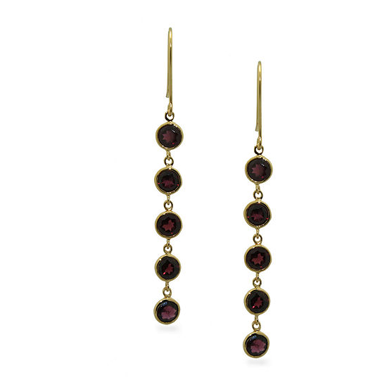 Genuine Red Garnet 14K Gold Over Silver Round Drop Earrings
